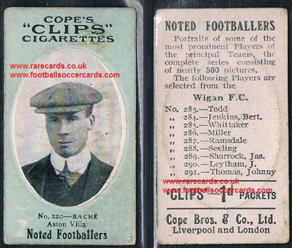 1909 Cope's Clips 3rd series Noted Footballers, 500 back, 220 Bache Aston Villa